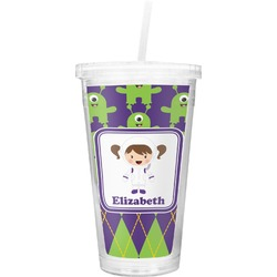 Astronaut, Aliens & Argyle Double Wall Tumbler with Straw (Personalized)