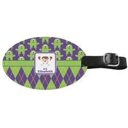 Astronaut, Aliens & Argyle Genuine Leather Oval Luggage Tag (Personalized)