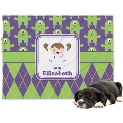 Astronaut, Aliens & Argyle Minky Dog Blanket (Personalized)