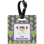 Astronaut, Aliens & Argyle Square Luggage Tag (Personalized)