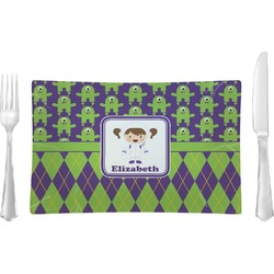 Astronaut, Aliens & Argyle Glass Rectangular Lunch / Dinner Plate - Single or Set (Personalized)