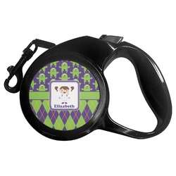 Astronaut, Aliens & Argyle Retractable Dog Leash - Multiple Sizes (Personalized)