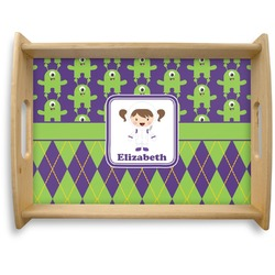 Astronaut, Aliens & Argyle Natural Wooden Tray - Large (Personalized)