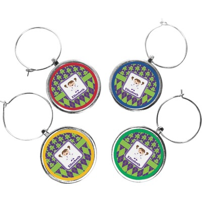 Astronaut, Aliens & Argyle Wine Charms (Set of 4) (Personalized)