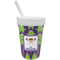 Astronaut, Aliens & Argyle Sippy Cup with Straw (Personalized)