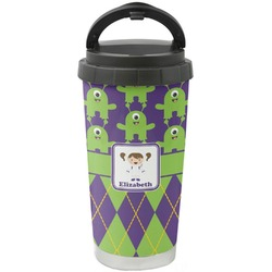 Astronaut, Aliens & Argyle Stainless Steel Travel Mug (Personalized)