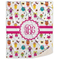 Girly Monsters Sherpa Throw Blanket (Personalized)