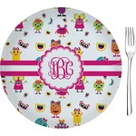 """Girly Monsters Glass Appetizer / Dessert Plates 8"""" - Single or Set (Personalized)"""