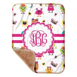 """Girly Monsters Sherpa Baby Blanket 30"""" x 40"""" (Personalized)"""