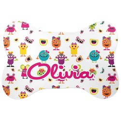 Girly Monsters Bone Shaped Dog Food Mat (Personalized)