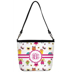 Girly Monsters Bucket Bag w/ Genuine Leather Trim (Personalized)