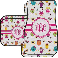 Girly Monsters Car Floor Mats Set - 2 Front & 2 Back (Personalized)