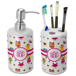 Girly Monsters Bathroom Accessories Set (Ceramic) (Personalized)