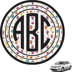Girly Monsters Circle Monogram Car Decal (Personalized)