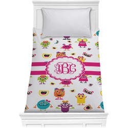 Girly Monsters Comforter - Twin (Personalized)