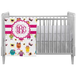 Girly Monsters Crib Comforter / Quilt (Personalized)