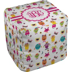 Girly Monsters Cube Pouf Ottoman (Personalized)