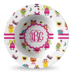 Girly Monsters Plastic Bowl - Microwave Safe - Composite Polymer (Personalized)