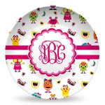 Girly Monsters Microwave Safe Plastic Plate - Composite Polymer (Personalized)