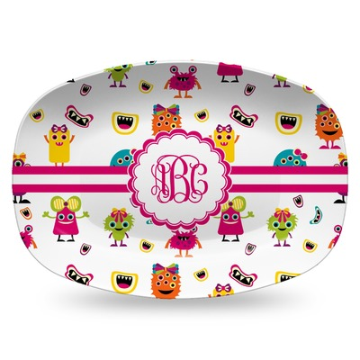 Girly Monsters Plastic Platter - Microwave & Oven Safe Composite Polymer (Personalized)