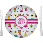 """Girly Monsters Glass Lunch / Dinner Plates 10"""" - Single or Set (Personalized)"""
