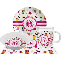Girly Monsters Dinner Set - 4 Pc (Personalized)