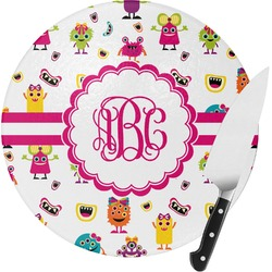 Girly Monsters Round Glass Cutting Board (Personalized)