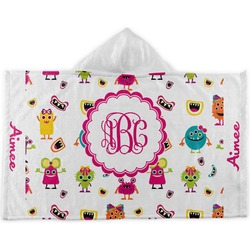 Girly Monsters Kids Hooded Towel (Personalized)