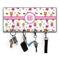 Girly Monsters Key Hanger w/ 4 Hooks (Personalized)