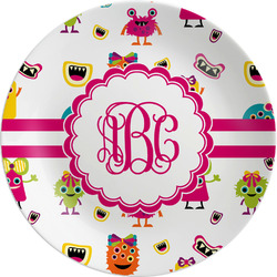 """Girly Monsters Melamine Plate - 8"""" (Personalized)"""