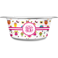 Girly Monsters Stainless Steel Pet Bowl (Personalized)