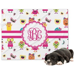 Girly Monsters Minky Dog Blanket - Regular (Personalized)