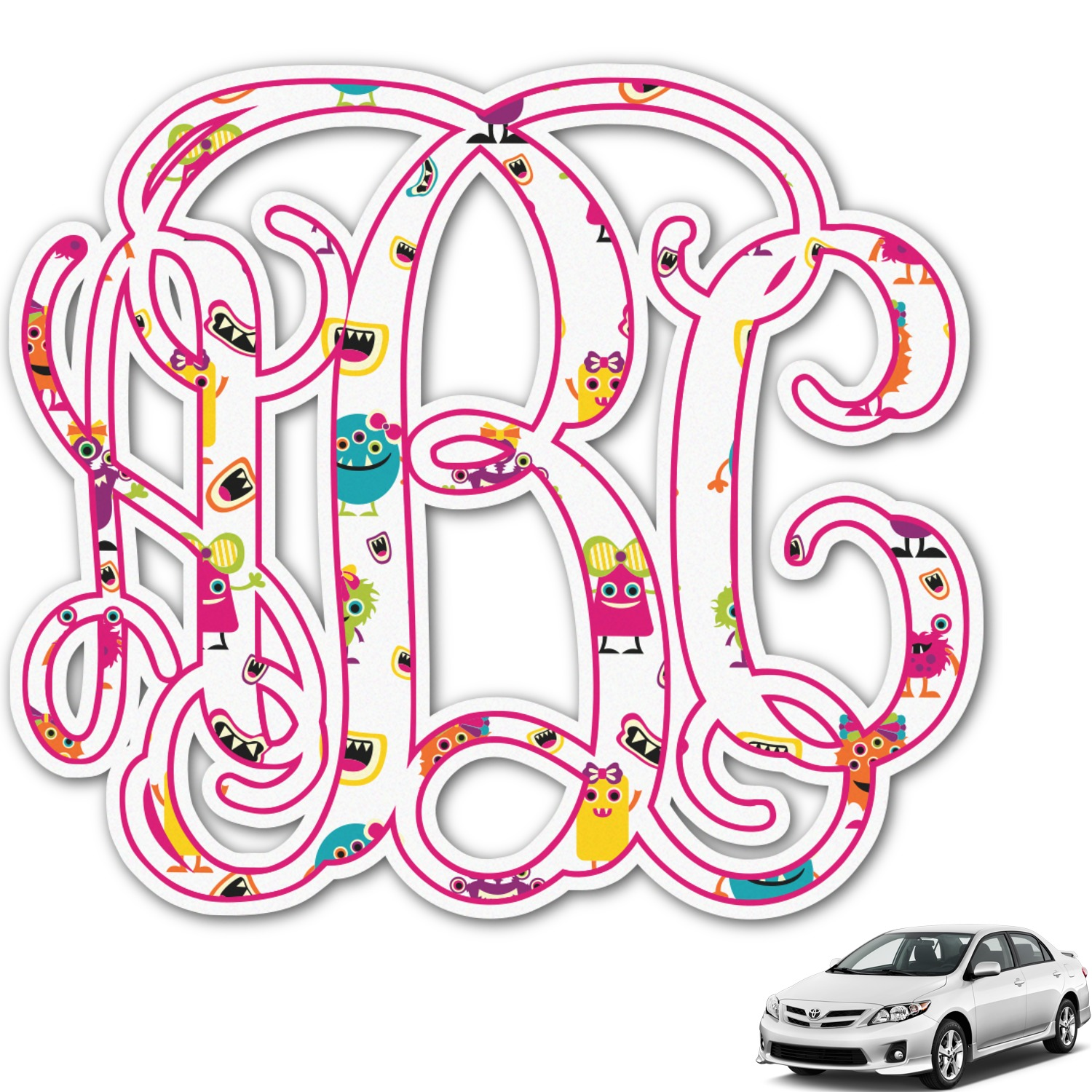 Girly monsters monogram car decal personalized
