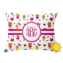 Girly Monsters Outdoor Throw Pillow (Rectangular) (Personalized)