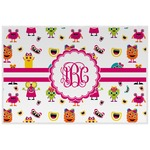 Girly Monsters Laminated Placemat w/ Monogram