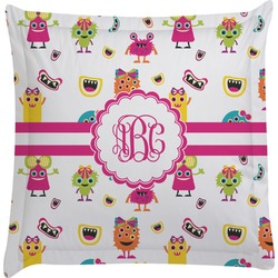 Girly Monsters Euro Sham Pillow Case (Personalized)