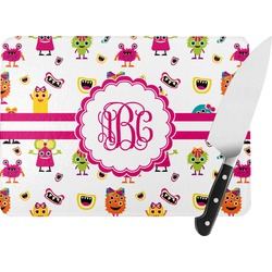 Girly Monsters Rectangular Glass Cutting Board (Personalized)