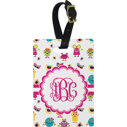 Girly Monsters Rectangular Luggage Tag (Personalized)