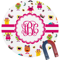 Girly Monsters Round Magnet (Personalized)