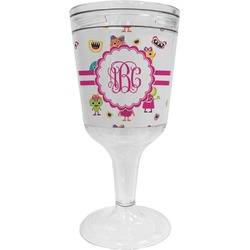 Girly Monsters Wine Tumbler - 11 oz Plastic (Personalized)