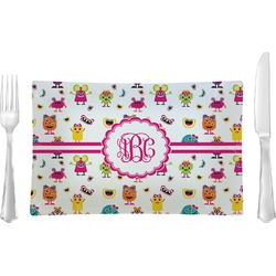 Girly Monsters Rectangular Glass Lunch / Dinner Plate - Single or Set (Personalized)