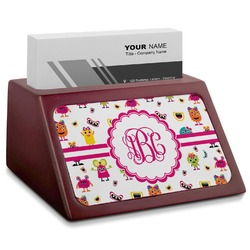Girly Monsters Red Mahogany Business Card Holder (Personalized)