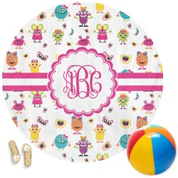 Girly Monsters Round Beach Towel (Personalized)