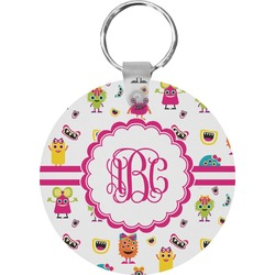 Girly Monsters Round Keychain (Personalized)
