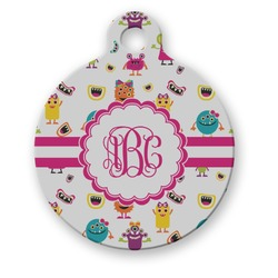 Girly Monsters Round Pet Tag (Personalized)