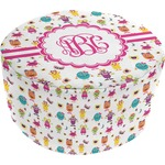 Girly Monsters Round Pouf Ottoman (Personalized)