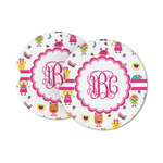 Girly Monsters Sandstone Car Coasters (Personalized)