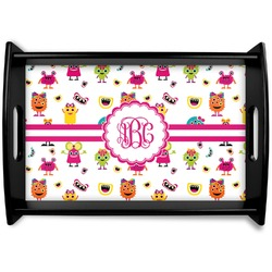 Girly Monsters Black Wooden Tray (Personalized)