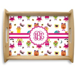 Girly Monsters Natural Wooden Tray - Large (Personalized)