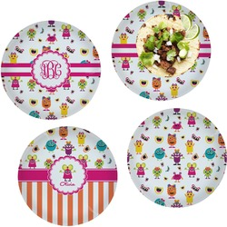 Girly Monsters Set of 4 Lunch / Dinner Plates (Glass) (Personalized)